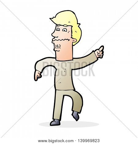 cartoon worried man pointing