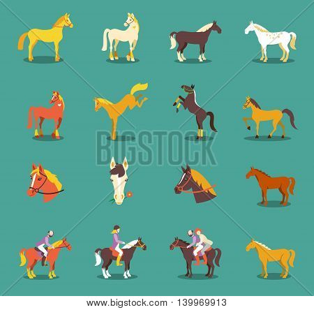 Group of the horses isolated on the blue background. Cute cartoon horse farm animals.