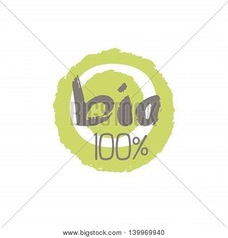 100 Percent Bio Food Product Logo Design. Cool Flat Vector Design Template On White Background