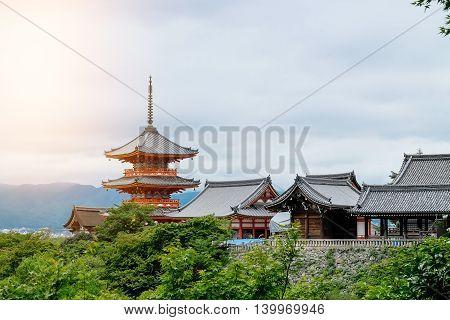 Kiyomizu dera Temple. Kyoto Japan in 10 july 2016