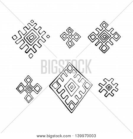 Geometric Russian traditional ethnic textile cross elements, hand drawn vector illustration