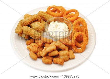 Appetizing Platter of Deep Fried Appetizers Isolated Over White