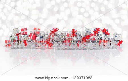Happy Christmas Silver Text On The Background Of Gifts