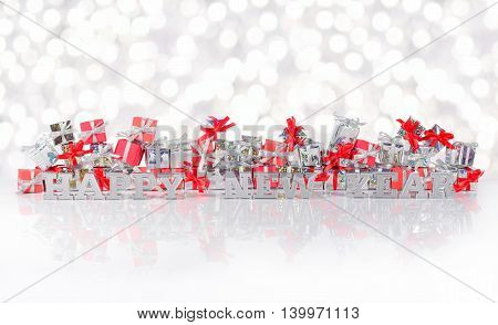 Happy New Year Silver Text On The Background Of Gifts