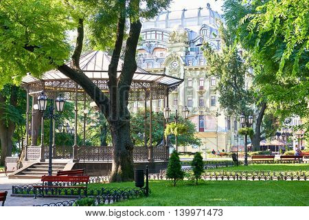 green city park at center town, summer season, bright sunlight and shadows, beautiful landscape, home and people on street