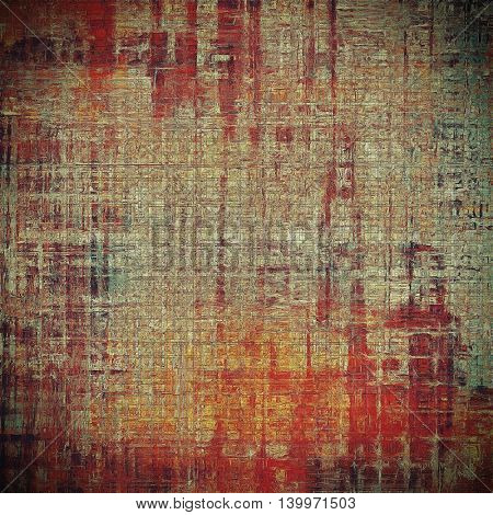 Old grunge vintage background or shabby texture with different color patterns: yellow (beige); brown; black; red (orange); pink