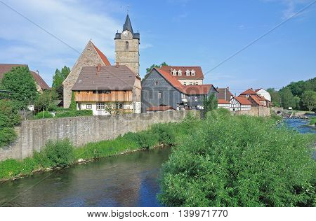 Village of Themar at River Werra in thuringian Forest,Germany