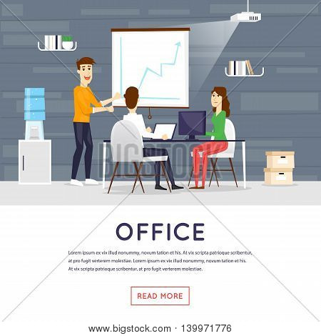 Business cartoon characters. People talking and working at the computers. Office workplace interior. Co working center. Open space. Room to work and study. Flat design vector illustration.