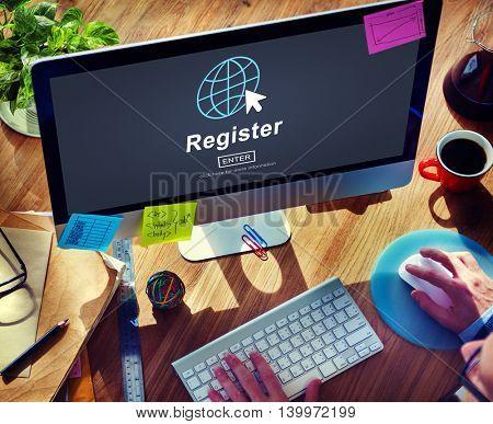 Register Member Homepage Browsing Digital Concept