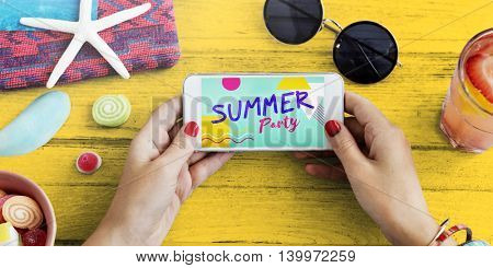 Summer Party Beach Celebration Mobile Phone Concept