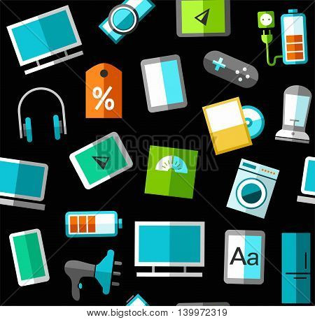 Gadgets and consumer electronics, black background, seamless.  Vector background with images of gadgets, computers, and household appliances. Colored, flat images on a black background.