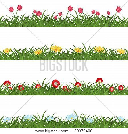 Horizontal seamless floral borders. Collection of repeatable green grass lawns with tulips, daisies, poppies and camomiles. Four variants of meadow with wild flowers. Vector illustration.