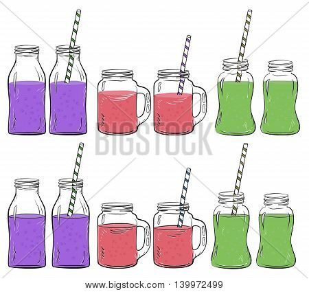 Glass bottles sketches set for smoothie, Yogurt and fresh juse, for detox cocktails. Whith straw. Vector sketch illustration