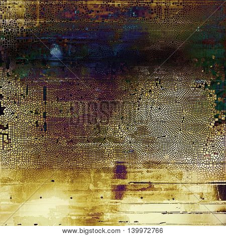 Old-style dirty background with textured vintage elements and different color patterns: yellow (beige); brown; black; green; blue; purple (violet)