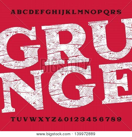 Grunge alphabet font. Dirty scratched type letters and numbers. Vector typeface for labels, titles, posters etc.