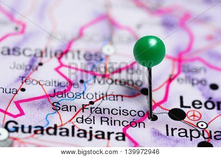 San Francisco del Rincon pinned on a map of Mexico