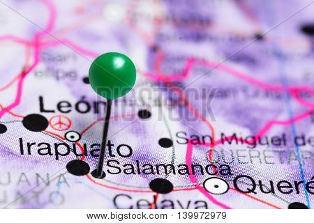 Salamanca pinned on a map of Mexico