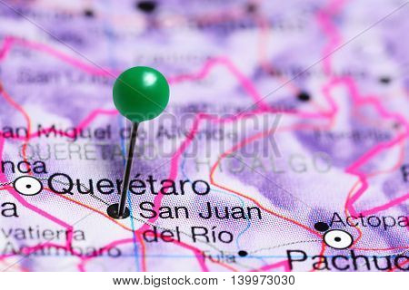 San Juan del Rio pinned on a map of Mexico