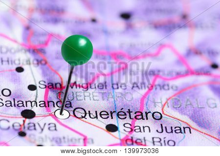 Queretaro pinned on a map of Mexico