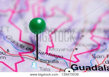 Tequila pinned on a map of Mexico