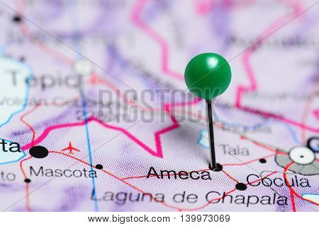 Ameca pinned on a map of Mexico
