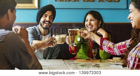 Coffee Shop Celebration Friendship Togetherness Cheers Concept