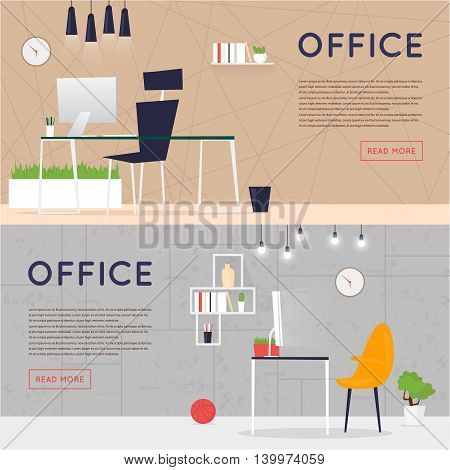 Office interior with designer desktop, business workspace in the office. Workplace. Flat design vector illustration. Banners.