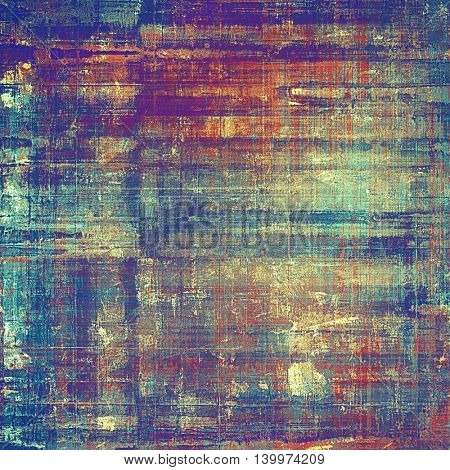 Old style design, textured grunge background with different color patterns: yellow (beige); blue; red (orange); purple (violet); cyan; pink