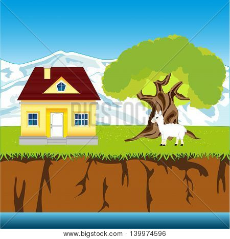 The Lodge in rural riverside terrain.Vector illustration