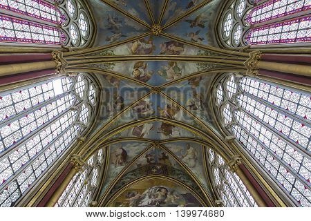 CHAALIS FRANCE JULY 24 2016 : stained glass and frescoes by Primatice Chaalis chapel july 24 2016 in Chaalis France