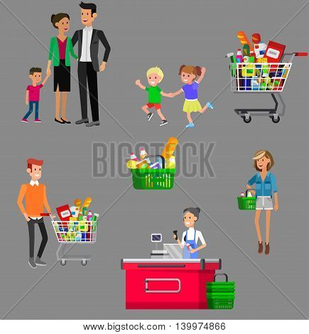Concept banner for Shop. Vector character people in supermarket, cart, delivery, family shopping. Healthy eating and eco food
