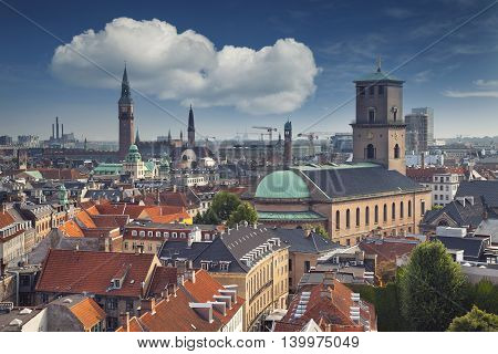 Copenhagen. Image of Copenhagen skyline during sunny day.