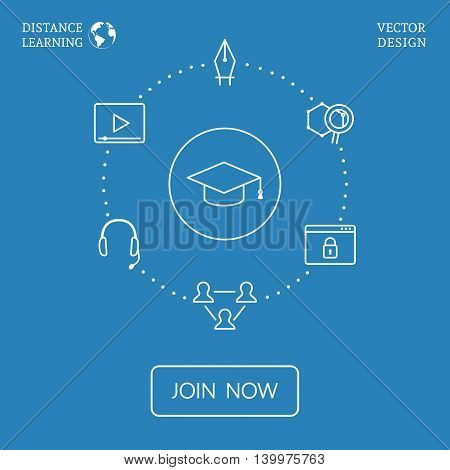 Distance learning concept with lineart icons. Vector flat education infographic
