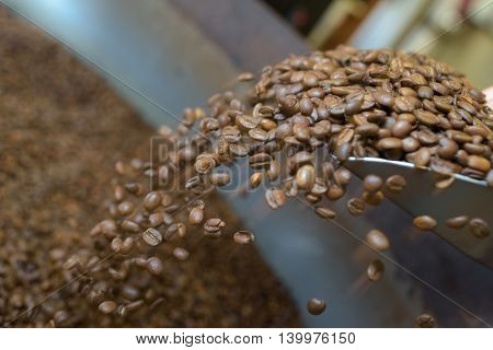 Coffee grains falling from scoop