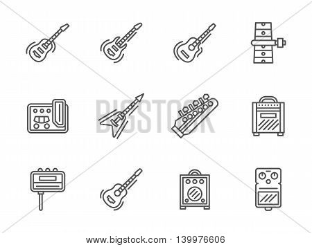 Electric and acoustic guitars and music equipment. Stringed musical instruments. Symbols for band, concert services, musical store. Set of simple black line style vector icons on white.