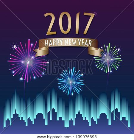 Vector of 2017 happy new year with gold ribbon with firework in city building at night backgroundHoliday celebration.