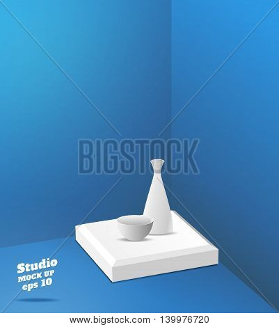 Vector,empty Blue Studio Room With Corner Background ,template Mock Up For Display Or Montage Of Pro