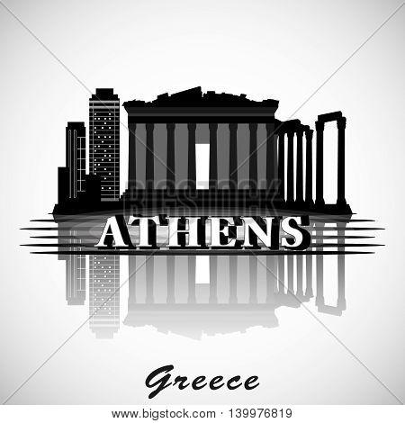 Modern vector Athens City Skyline Design. Greece