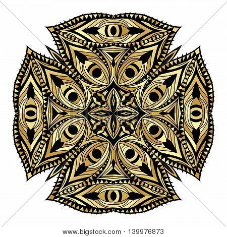 Golden orient style element. Gold gamut decorative icon. Ornate medallion ethnic pattern. Tribal ornament for tattoo or beauty salon concept. Vector illustration.