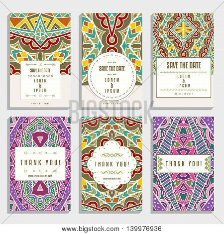Six cards with orient ornaments. Collection of romantic wedding and thank you cards. Vector illustration.