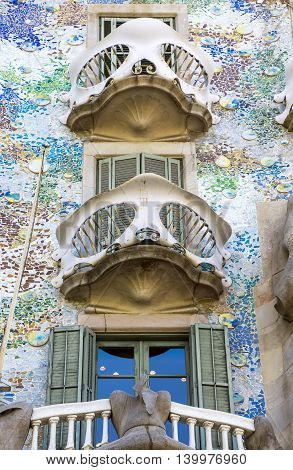 BARCELONA SPAIN - JULY 5 2016: Architecture detail of Casa Mila better known as La Pedrera designed by Antoni Gaudi.