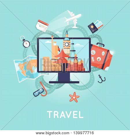 Travel the world. Search tour to the Internet, summer holiday, travel suitcase, summer vacation, time to travel, travel-ling on holiday journey. Russia, USA, Japan, France, England, Italy. Flat design vector illustration.