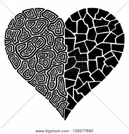 A hand drawn abstract heart shape divided in two
