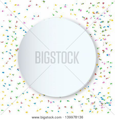 A large copy space and faded falling confetti party background