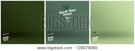 Vector,set Of Empty Earth Tone Green Color Lighting Studio Room Background ,template Mock Up For Dis