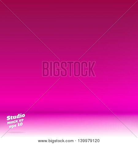 Vector,empty White Floor Gradient To Vivid Pinnk Studio Room Background ,template Mock Up For Displa