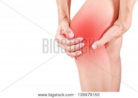 Knee pain.Female holding hand to spot of knee pain