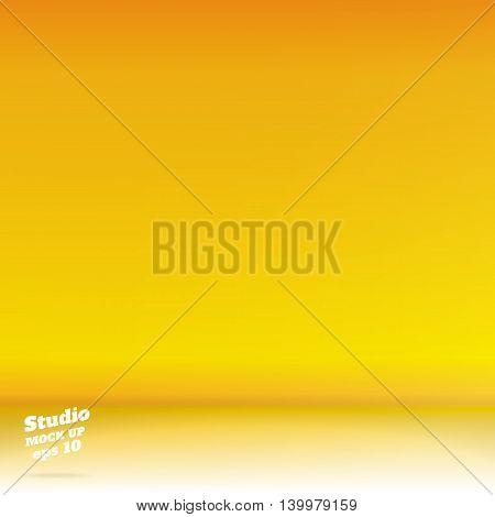 Vector,empty White Floor Gradient To Vivid Yellow Studio Room Background ,template Mock Up For Displ