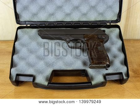 RIVER FALLS,WISCONSIN-JULY 25,2016: A vintage CZ52 semi-auto pistol in a padded case.