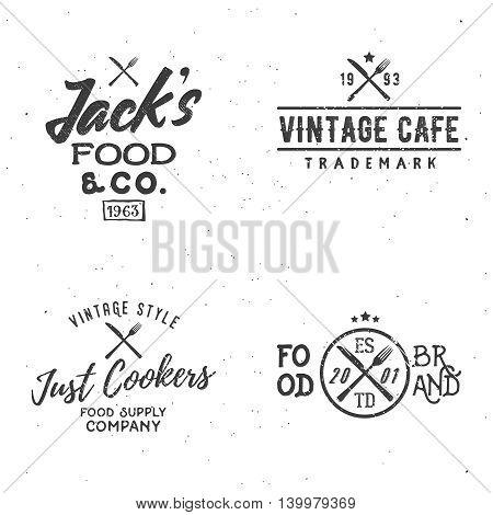 Set of food related vintage labels badges logos design elements.